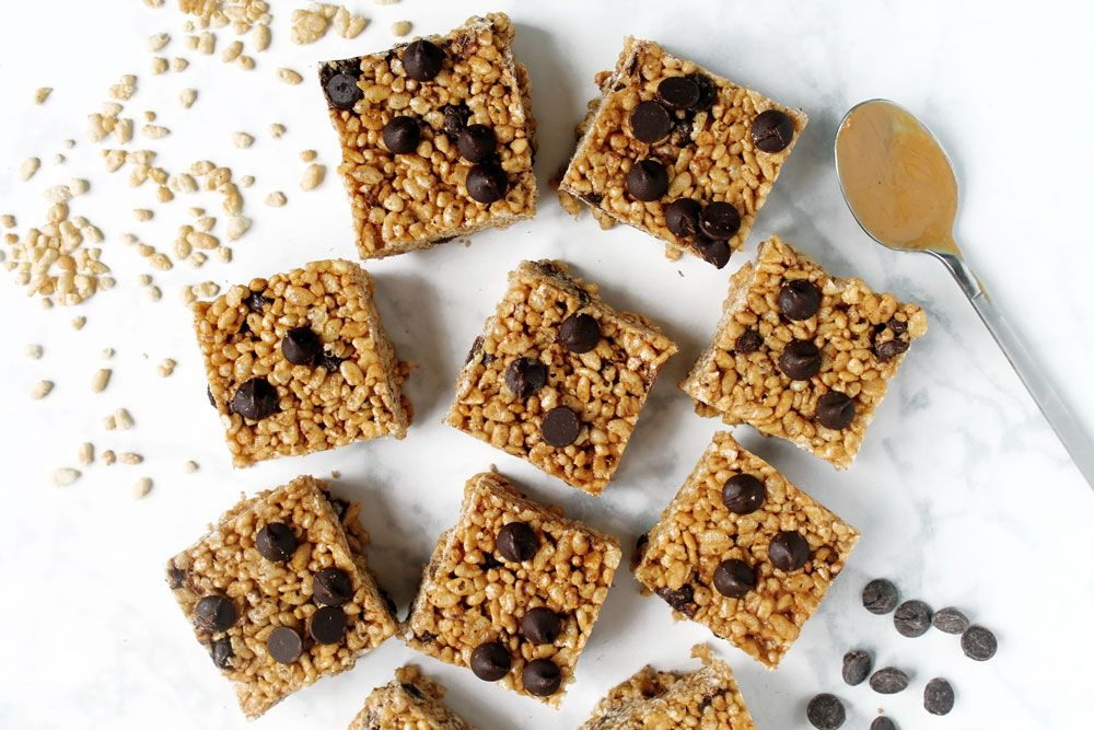 Peanut Butter Chocolate Chip Rice Crispy Treats